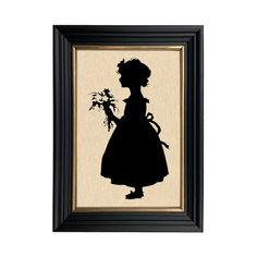 Girl with Flowers Framed Paper Cut Silhouette in Black Wood | Etsy