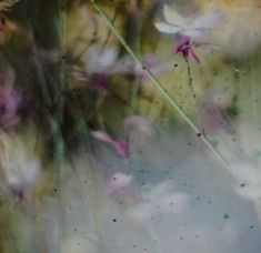 Impression of Spring    Encaustic mixed media on board    10 x 10 x 1    $ 175