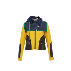 Versace     Color Block Cropped Hooded Jacket (61.080 ARS) ❤ liked on Polyvore featuring tops, hoodies, hooded top, buckle tops, versace top, versace hoodies and overlay top