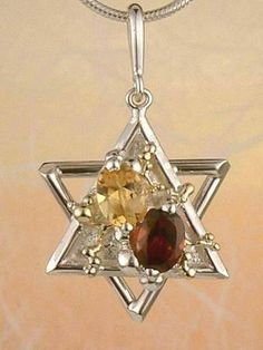 Pendant 5410, fine craft, Gregory Pyra Piro handmade star of David pendant, in solid gold and sterling silver, garnet, citrine