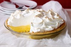 A crispy base, tangy citrus centre and fluffy meringue top makes this a pie to die for.