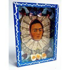 Frida Kahlo Self Portrait Tehuana Nicho - Mexican altar ... #nicho #niche #altar #autel #fridakahlo #frida #kahlo #tehuana #shrine #shadowbox #vitrine