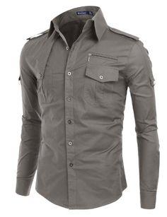 ecd2174dcfd2 Doublju Mens Dress Shirt with Epaulet Long Sleeve Shirt Dress