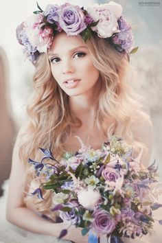 Boho bride flower crown in soft shades of pink and lavender