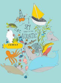 I Spy something Aquatic   Monkey and the whale. #illustration