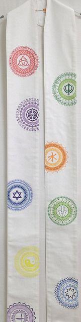 Interfaith Mandala Stole -- Printed design on cotton twill.