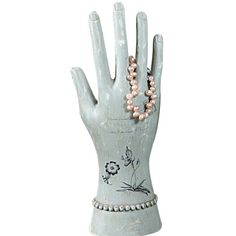 Aqua Hand Jewelry Stand with Botanical Print, Prettier than a Vintage Glove Mold #CreativeCoop