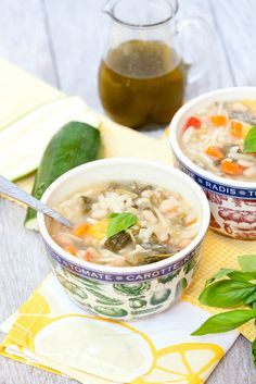 Great way to use up zucchini! Summer Vegetable Minestrone Soup with Basil Oil - Low Calorie, Low Fat Healthy Dinner Recipe