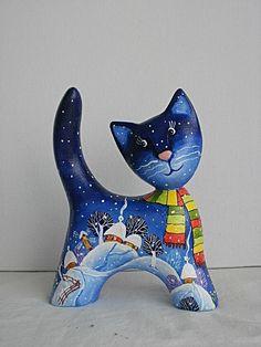Не котенок, а мамкина радость - всегда в шарфике. Котенок вырезан из дерева, расписан кисточкой и акрилом, покрыт лаком. Авторская работа. Виталий Корякин. Ярмарка Мастеров. Размеры 10 х 10 cм