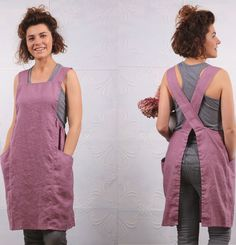 Items similar to Rosy mauve comfortable apron gift for wife / Womens soft linen pinafore tunic apron / Full work home pinafore smock dress apron on Etsy – Wasche falten Sewing Aprons, Sewing Clothes, Diy Clothes, Apron Dress, Smock Dress, Sewing Ruffles, Vestido Casual, Apron Designs, Handmade Clothes