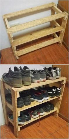 Shoe rack is next on our list! Well very few of the houses consider choosing the shoe rack idea to be created out of the wood pallet. But here the rack has been designed much creatively and in much a simple easy to craft manner with the different portions of rack shelves.  #woodpallets #woodpallet  Source by fifeman