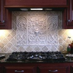 Celtic+Tiles+for+Backsplashes | ... Backsplash Usin g French Flowers Tile With Frames And 2 X 4 Flat Tiles