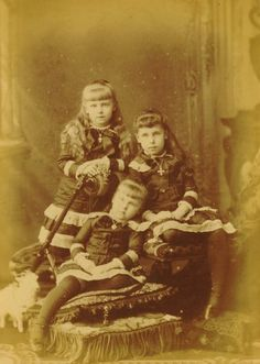 Marie, Victoria, and Alexandra. Daughter of Grand Duchess Marie, only surviving daughter of Tsar Alexander II. Victoria would become a Grand Duchess after her second marriage to her cousin Grand Duke Krill. Romanian Royal Family, Greek Royal Family, Victoria Kids, Victoria And Albert, Princess Victoria, Queen Victoria, Princess Beatrice, English Royalty, Imperial Russia