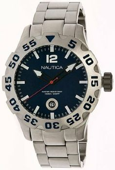 Nautica Steel Bracelet Marine Blue Dial Men's watch #N17569G NAUTICA. $115.63. 45mm Case Diameter. Quartz Movement. Mineral Crystal. 100 Meters / 330 Feet / 10 ATM Water Resistant