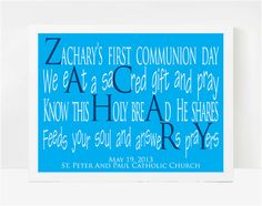 First Communion Gifts For Boys, First Holy Communion Gifts, Christian Gifts, Zachary  8x10