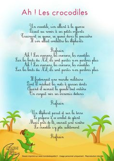 32 Ideas Music Education Activities Learning For 2019 French Kids, French Class, French Lessons, Music Education Activities, Kids Education, French Poems, French Education, French Language Learning, Crocodiles