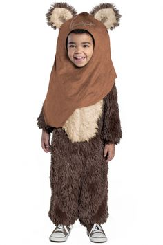 Toddler and Child size Classic Star Wars Premium Wicket Jumpsuit  Costume is officially licensed and made of soft polyester faux fur. It's easy to put on and take off, and secures with a Velcro closure in the back. Simply put the faux suede hood on to complete the Endor look, and your little guy or gal will instantly feel like they've been transported to a galaxy far, far away.