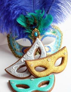 Decorate for your Mardi Gras party with mask cookies.