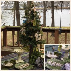 #CottageGreenontheLake.com ... #Winter Weather and Outdoor Tablescape and Picnic for the Birds #picnic #birds #tablescape #snow #Southern #Texas #Cedar Creek Lake #birdseed ornaments #woodland tags