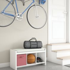 A simple solution for entryway clutter #CubeStorage #EntrywayIdeas #HomeOrganization Bench With Storage, Cube Storage, Garage Storage, Entryway Organization, Homemade Skin Care, Floating Nightstand, Clutter, Simple, Ideas