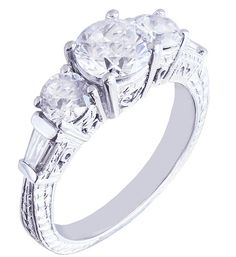 18k white gold round cut diamond engagement ring antique by KNRINC, $2625.00