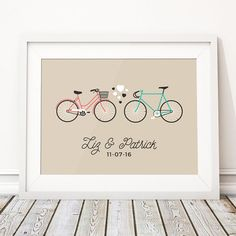 Bicycle Wedding Gift, Bike Wedding Present Personalised, Personalised Print Fixed Gear Fixie Bike, Unique Wedding Gift For Couple (unframed) Thoughtful Wedding Gifts, Wedding Gifts For Couples, Unique Wedding Gifts, Anniversary Present, Paper Anniversary, Bicycle Wedding, Happy To Meet You, Personalised Prints, 1st Year
