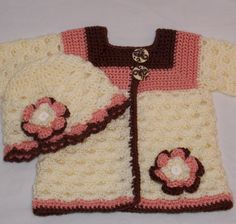 Crochet Baby Sweater Set 3 to 6 months  by sweetpeacollections, $35.00