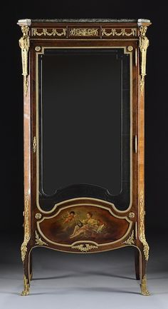 355: A LOUIS XVI STYLE GILT BRONZE MOUNTED ROSEWOOD AND : Lot 355