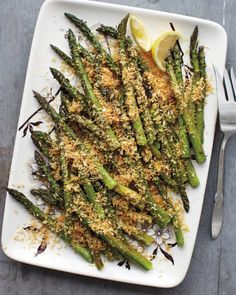 Roasted Asparagus with Lemony Breadcrumbs, Recipe from Martha Stewart Living, April 2012