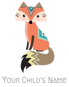 Personalized Printable Fox Printable Personalized Prints Tribal Fox, Tribal Animals, Scrapbooking Image, Baby Animals, Cute Animals, Fox Art, Animal Wallpaper, Woodland Party, Woodland Animals