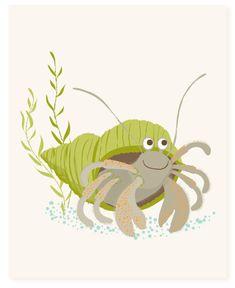 hermit crab  art print by SeaUrchinStudio on Etsy, $15.00