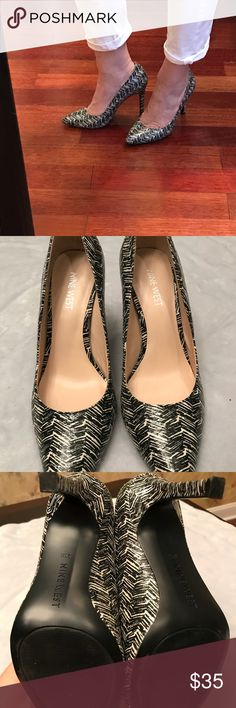 Nine West seespoto heels Perfect condition no flaws. Very pretty. Black and white. Nine West Shoes Heels