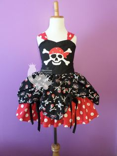 Custom Embroidered Pirate Princess Bustle Dress - or any theme! Mouse Pirate available! 2 4 6 8 10 by TheDinosaurPrincess on Etsy https://www.etsy.com/listing/213853880/custom-embroidered-pirate-princess