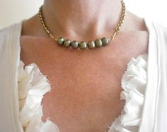 Small Pearl Pendant Delicate Gray Pearl Cluster by BellantiJewelry