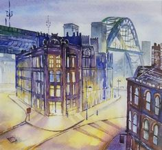 Buy Phoenix House  Tyne Bridge, Watercolours by David Holliday Professional Artist on Artfinder. Discover thousands of other original paintings, prints, sculptures and photography from independent artists. Architecture Collage, Phoenix Homes, Happy House, Newcastle, Love Art, Impressionist, Watercolours, Original Paintings, Cityscapes