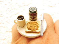 Kawaii Food Ring Coffee Toast Peanut Butter Grape Jelly #etsy #fashion #shopping $12.5