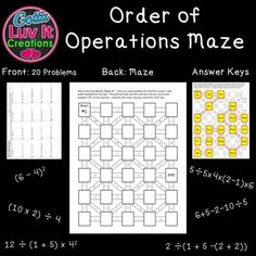 Worksheets Multi Operational Mathematical Maze 1000 images about gotta luv it creations on pinterest one step order of operations maze includes two mazes for a total 40 problems no prep