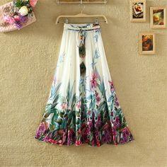 2016 Chiffon Maxi Skirts Womens Solid Etek Pleated Summer Vestidos Cute Tulle Office Long Skirts American Apparel Saia Clothing