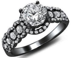 1.39CT NATURAL ROUND DIAMOND ENGAGEMENT RING 18K BLACK GOLD