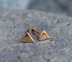 Small+4mm+14k+Solid+Rose+Gold+Geometric+Triangle+Stud+by+meltemsem,+$88.00