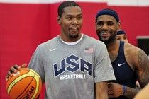 USA Mens Basketball - Kevin Durant and LaBron James getting it in..