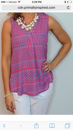 Papermoon Norris Split Neck Blouse. Love the color and print of this blouse! Love the necklace also