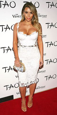 Kim K - in white lace top and matching skirt <3