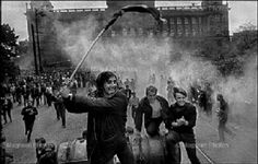 On August a Czech photographer took to the streets to document the chaos unfolding on his doorstop: some soldiers from five Warsaw Pact countries sent to destroy the Prague Spring. Marie Curie, Steve Jobs, Prague Tours, Prague Spring, Classic Photographers, Einstein, Weegee, Warsaw Pact, Nazi Propaganda