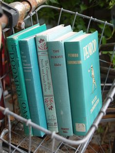 vintage books  aqua stack by fivetenfifteen on Etsy
