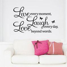 OrliverHL Vinyl Decal Live Every Moment Laugh Every Day Love Beyond Words Wall Quote ** Visit the image link more details. (Note:Amazon affiliate link) #BestSellerBelow10