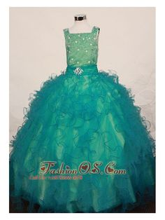 Flower Girl Dresses online shop offers Lovely Green Ruffles Little Girl Pageant Dress Square Floor Length In 2013 features square neckline ball gowns in green color,floor length organza dress with zipper back and train for party . Beauty Pageant Dresses, Little Girl Pageant Dresses, Cute Little Girl Dresses, Gowns For Girls, Homecoming Dresses, Pretty Dresses, Girls Dresses, Pageant Wear, Graduation Dresses