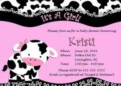 Cow Print Baby Shower Or Birthday By Kristiskardskouture 8 00 Digital Invitations