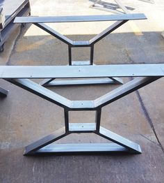 """Modern, Dining Table """"X"""" Legs, Heavy Duty Metal Legs, Industrial Legs from 3"""" x 1"""" Tubing and 1/4 x 5"""" Mounting flat on top"""