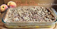 Peach Pie Breakfast Bake! A healthy recipe to serve a crowd that is made almost entirely of eggs but tastes like a pancake and has all the flavors of peach pie! You can even use frozen peaches! PrimallyInspired.com #paleo #breakfast